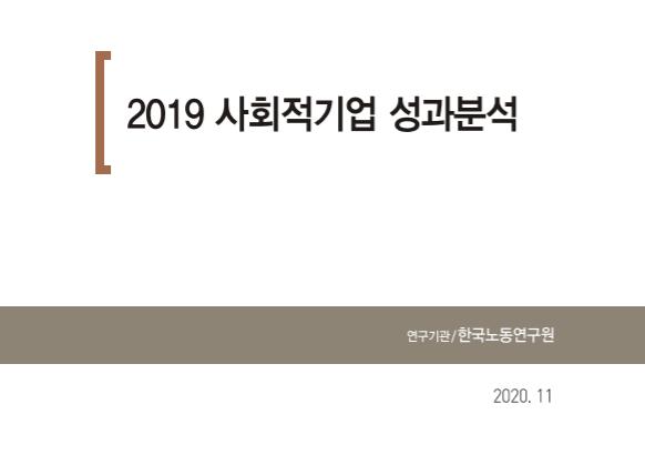 2019 사회적기업 성과분석 연구기관 : 한국노동연구원, 2020.11