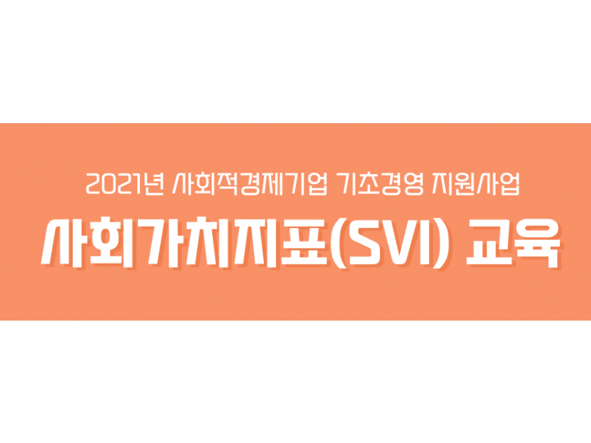 2021년 사회적경제기업 기초경영 지원사업 사회작가치지표(SVI) 교육